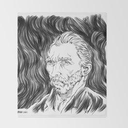 Van Gogh in black Throw Blanket