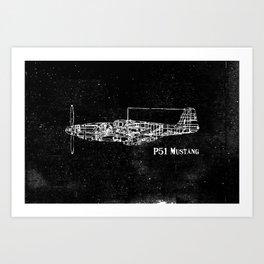 North American P51 Mustang (Dark) Art Print