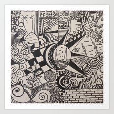 doodles black and white Art Print