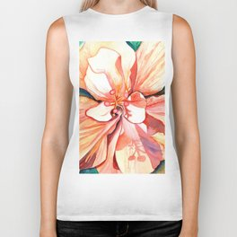 Double Peach Tropical Hibiscus Biker Tank
