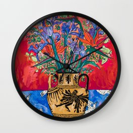 Icarus Floral Still Life Painting with Greek Urn, Irises and Bird of Paradise Flowers Wall Clock