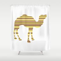 camel Shower Curtains featuring Camel Stripes by Whimsy Notions Designs