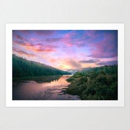 Rainy Sunset Over River Art Print