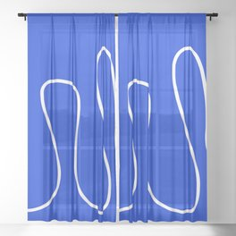 Blue Abstract Wave Sheer Curtain