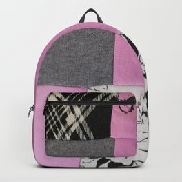 """patchwork pink and black """" Unattainable"""" Backpack"""