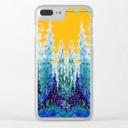 Western Gold  Modern Art Mountain Trees Blue  Art Clear iPhone Case