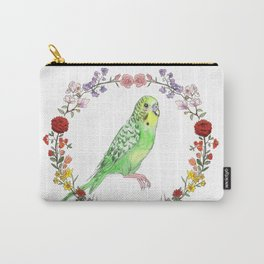 Parakeet in Green Carry-All Pouch