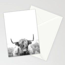 Highland Cow Longhorn in a Field Black and White Stationery Cards