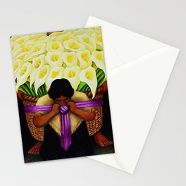 El Vendedor de Alcatraces (Lily Flower Seller with pink sash) by Diego Rivera Stationery Cards