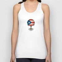 puerto rico Tank Tops featuring Vintage Tree of Life with Flag of Puerto Rico by Jeff Bartels