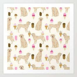Golden Retriever dog breed pet portrait ice cream custom pet illustration by pet friendly Art Print