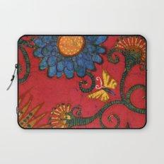 Batik butterflies and flowers on red Laptop Sleeve