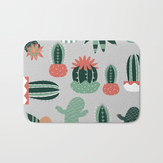 Succulents gray Bath Mat