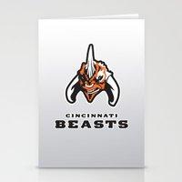 nfl Stationery Cards featuring Cincinnati Beasts - NFL by Steven Klock
