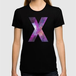 Pink Space Galaxy Initial Monogram Letter X T-shirt