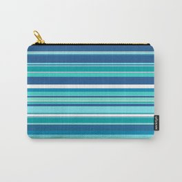 Stripes (Parallel Lines) - White Blue Carry-All Pouch