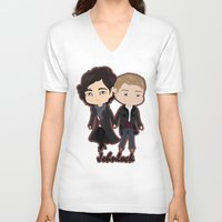johnlock V-neck T-shirts featuring Johnlock by Alex Mathews