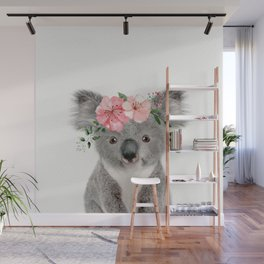 Baby Koala with Flower Crown Wall Mural