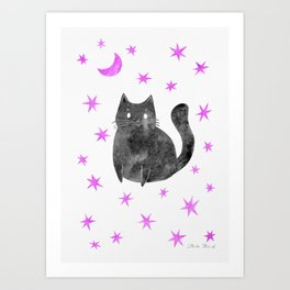 Black Cat with Pink Stars Art Print