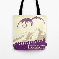 the hobbit Tote Bags featuring The Hobbit by WatercolorGirlArt