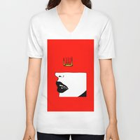 lip V-neck T-shirts featuring Lip King by Keith Cameron
