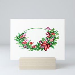 Christmas Wreath With Flowers  Mini Art Print