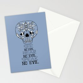 Cute Skull See no Evil Stationery Cards