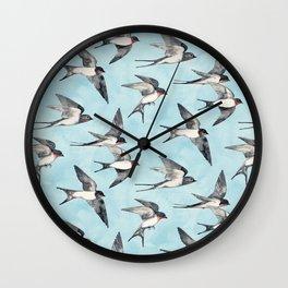 Blue Sky Swallow Flight Wall Clock