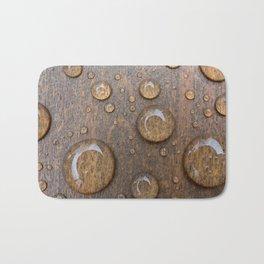 Water Drops on Wood 4 Bath Mat