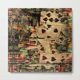 Abstract Vintage Playing cards  Digital Art Metal Print