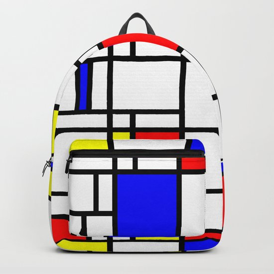 Modern Art Red Yellow Blue Grid Pattern Backpack