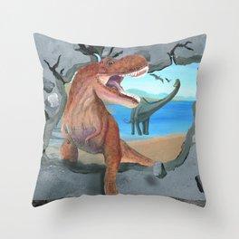 Prehistoric Dinosaur Tyrannosaurus Enters the 21st Century Throw Pillow