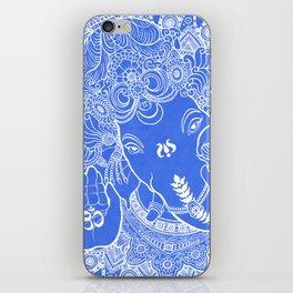 Ganesha Lineart Blue White iPhone Skin