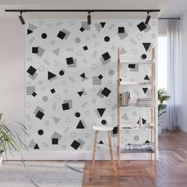 Memphis Style Black and White Pattern Wall Mural