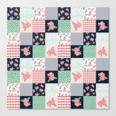 Cheater Quilt basic trendy floral pattern navy pink modern nursery florals cheater quilts Canvas Print
