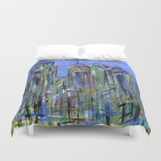 Blue Philadelphia Skyline Duvet Cover