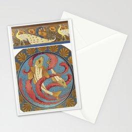 Paons et pavots bordure Grondins algues et coquilles plat en email cloisonne from Lanimal dans la de Stationery Cards