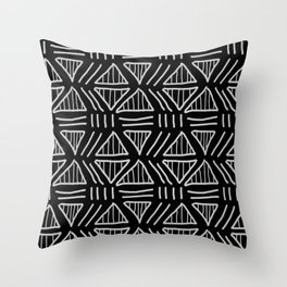 Mudcloth Black and White Throw Pillow