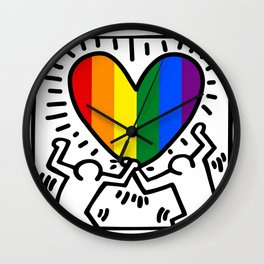 Pride Heart LGBT Homage to Keith Haring Wall Clock