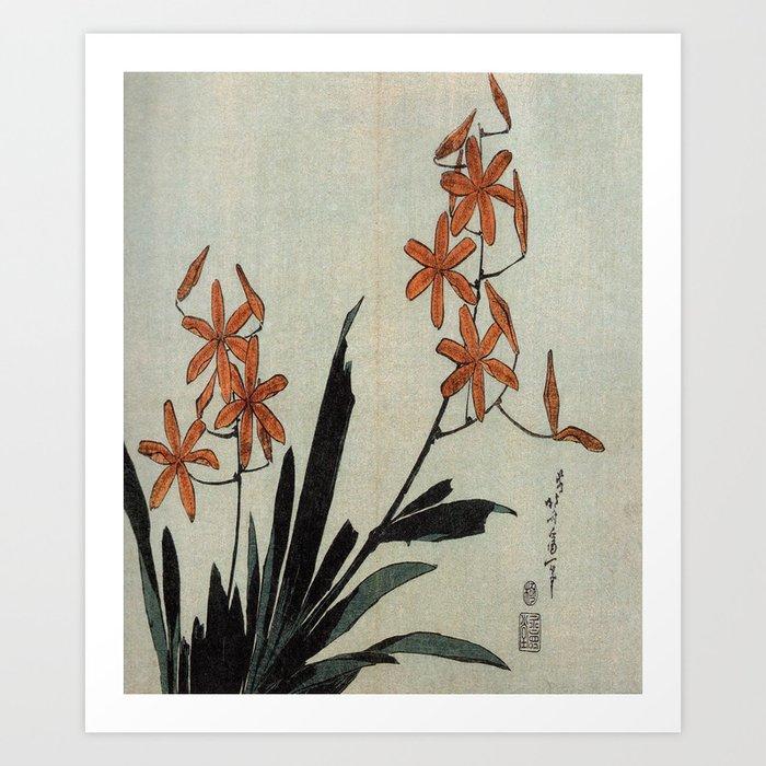 Hokusai, red orchid -manga, japan,hokusai,japanese,北斎,ミュージシャン Kunstdrucke