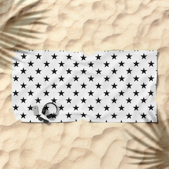 Stars (Black/White) Beach Towel