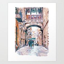 Carrer del Bisbe - Barcelona Art Print