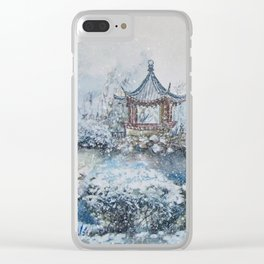 Snowstorm (Winter) Merry Christmas Clear iPhone Case