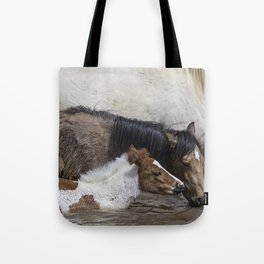 Pinto Foal Enjoying a Dip - South Steens Mustangs Tote Bag