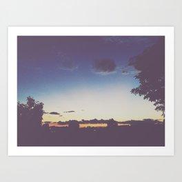 Blue + Gold Sunset Art Print