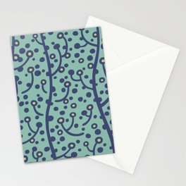 Mid Century Modern Spring Blossoms Blue and Turquoise Stationery Cards
