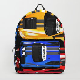 Exclusive poster with sports cars. Backpack