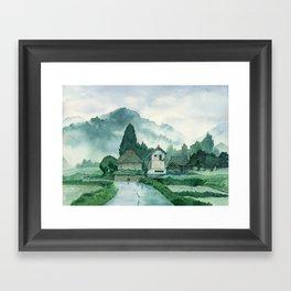 Japanese Village , After Rain ,  Art Watercolor Painting print by Suisai Genki  Framed Art Print