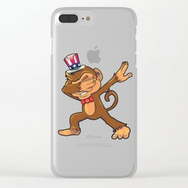 Monkey Dabbing July 4th Clear iPhone Case
