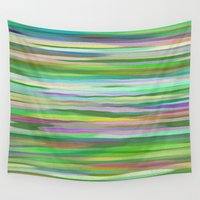 swimming Wall Tapestries featuring Swimming Stripes by Betty Mackey